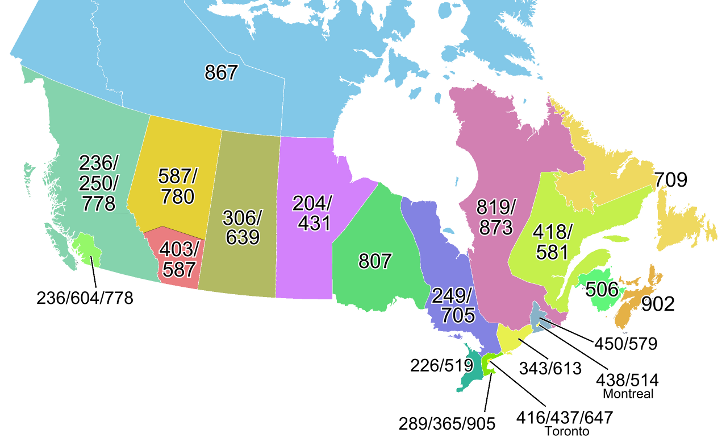 Area Code Map of Canada
